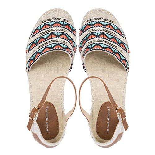 Ideal Shoes–Sandale mit Bride dekoriert Stickerei und Pailletten vaina Schwarz - Schwarz
