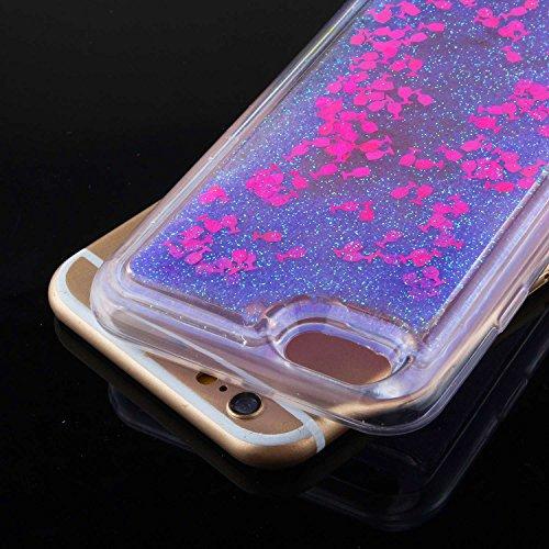 TOYYM - Cover per iPhone 7, ultra sottile, trasparente, con luccicanti cristalli liquidi, con strass, di lusso, morbido paraurti, 4,7 pollici, parte posteriore della cover con stelle e puntini scintil Purple