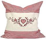Kissenbezug Set - 40x40 cm - Außenhülle rot kariert mit Herz inkl. Innenkissen zum Befüllen -...