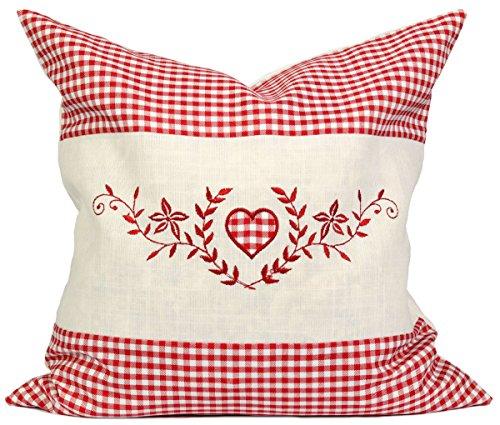 Kissenbezug Set – 40×40 cm – Außenhülle rot kariert mit Herz inkl. Innenkissen zum Befüllen – ideal für z.B. Zirbenkissen, Kernkissen, Kräuterkissen