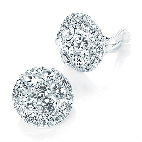 Ladies Womens Girls Fashion Costume Shiny Silver Colour Crystal Round Earrings