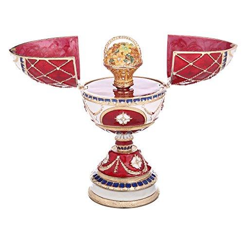 Russische Fabergé-Stil Ei / Spieluhr / Schmuckkästchen mit Korb der Blumen 17 cm rot