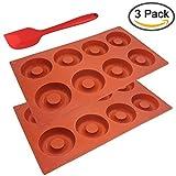 SourceTon 2Packungen of 8-cavitysilicone Donut Form mit Spatel, 3PCS Stück Donut Pfannen und Spatel Set, Antihaft-Backform, hitzebeständig, flexibel, braun