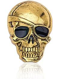 Lily Jewelry - Broche personalizado de cráneo para mujeres/hombres, brillante, retro y elegante