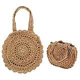 Papaxiong Femmes d'été rondes plage de paille sac à main sac crochet