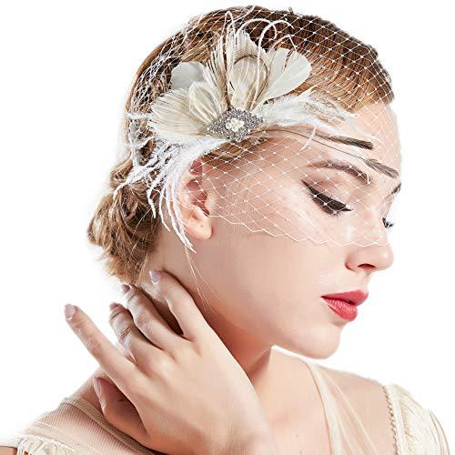 ArtiDeco 1920s Feder Fascinator Haarspange Hochzeit Braut Fascinator Schleier Showgirl Haarclip Gatsby Accessoires Damen Elegant Kopfstück Haar Zubehör (Weiß Stil 3)