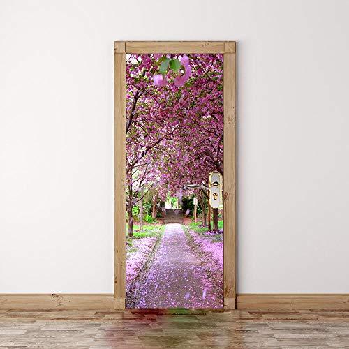 3D Tür Aufkleber Tapete Plakat violett Orchidee Baumschmuck durch Malerei Fototapete abnehmbare selbstklebende Home Badezimmer Schlafzimmer von Vinyl 95x215cm - Foto-baumschmuck