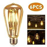 Tronisky Vintage Edison Glühbirne, E27 4W Antike LED Filament Lampe Warmweiß Edison Dekorative Glühbirne Industriestil Leuchtmittel, Ideal für Nostalgie und Retro Beleuchtung, 6 Stück