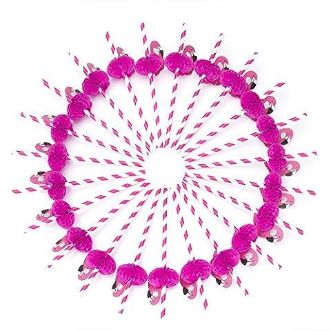 ZeWoo 50 pcs 3D Flamingo Papier Pailles pour les Anniversaires, les Mariages, les Fêtes de Naissance, DE NOËL, fêtes et Célébrations, DE Longue Durée et Biodégradable (Rose)