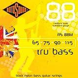 Rotosound Tru Bass Jeu de cordes pour basse Nylon noir Filet plat Diapason moyen Tirant standard (65 75 90 115)