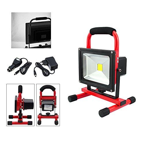VINGO® 20W LED AKKU Strahler Balu IP65 3000K-3500K Baustrahler Handlamp Arbeitslampe Arbeitsleuchte Kaltweiß