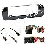 Einbauset : Autoradio 1-DIN Radioblende Radio Blende Halterung piano schwarz + ISO Radioanschlusskabel / Radio Adapter + Antennenadapter für Fiat Panda (319) ab 01/2012