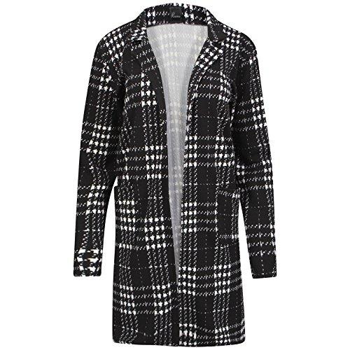 Damen Uni schwarz lange Duster Coat Blazer Damen öffnen Cardi Let out auf Jacke 8–14 Gr. 10, Schwarz kariert