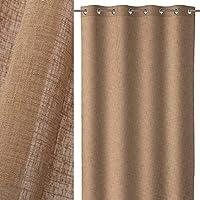 Cortina de 140x260 rústica marrón de Microfibra para salón Bretaña - LOLAhome