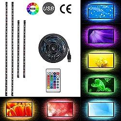 2 x 50cm + 2 x 30cm Ruban à LED, USB Rétroéclairage TV Bande LED Lumineuse RGB Multicolore avec 24 touches de télécommande pour 40-60in HDTV, moniteur et décoration de DIY