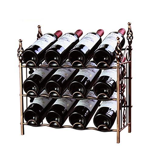 ReedG Weinregal-Verkaufsregal 12 Wein Display Rack Stehen Flaschen Lagerregal Wobble (Farbe : Braun, Größe : 42x44x20cm)