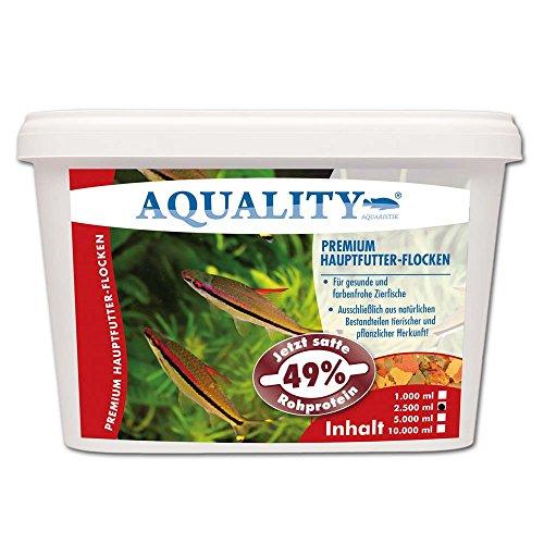AQUALITY PREMIUM Hauptfutter-Flocken 2.500 ml (Top Premium Fischfutter Flocken mit satten 49% Rohprotein - das wertvolle Nature Hauptfutter. Aussschließlich aus natürlichen Bestandteilen tierischer und pflanzlicher Herkunft. Ohne künstliche Farbstoffe!!! Für gesunde und farbenfrohe Aquarium Zierfische)