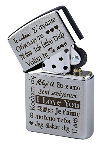 Zippo con incisione 'I Love You' in più lingue su accendino a benzina cromato spazzolato