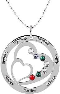 Collana con nome di famiglia personalizzata con cuore, incisa con 7 nomi e birthstone - realizzata su misura con qualsiasi nome