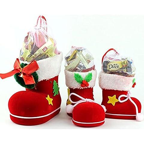 YUYU Kleine Geschenke von Süßigkeiten-Boxen von Feiertagsdekorationen Weihnachts Stiefel (3) (Süßigkeiten, Christbaumschmuck)