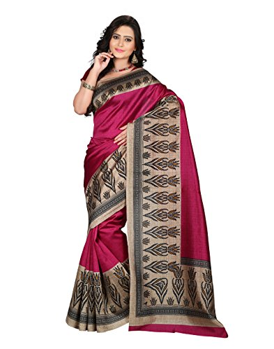 e-VASTRAM Women\'s Mysore Art Silk Saree (NS8A_Pink)