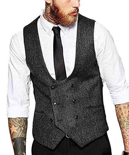 Lovee Tux Herren Zweireiher Westen Weste Wolle Herringbone Tweed Slim Fit Weste für Hochzeit(XL,Schwarz) -