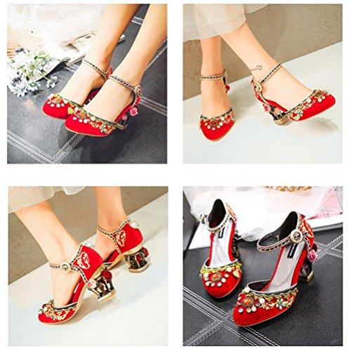 QPYC Tacco tondo con fiori con perline di diamanti con paillettes in metallo con tacco a spillo da donna Tacchi alti da donna con sandali da scarpe 37