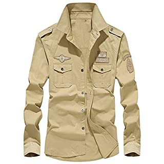 Anglewolf 2018 Men's Fashion Autumn Casual Long Sleeve Military Cargo Slim Button Dress Shirt Top Mens Windbreaker Jacket Cotton Combat Lightweight Coat Men Jackets Winter Blouse(Khaki,M)