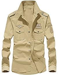 ALIKEEY Men  S Retro Tooling Solapa Cotton Casual Camisa De Manga Larga  para Hombres Otoño Carga Militar Botón… 6c496c95a41