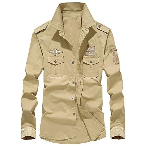 Aoogo Herren Langarmshirt Mens-Herbst-beiläufige Militärfracht-dünne Knopf-Lange Hülsen-Smokinghemd-Spitzenbluse