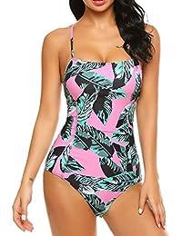 Scallop Mujer Traje de Baño Playa Piscina Una Pieza Conjunto de Bañador Estampado Bikini