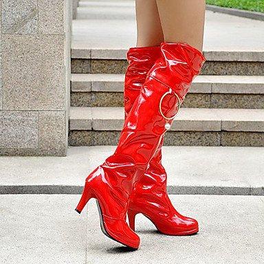 Rtry Charol Mujer Zapatos Otoño Invierno Botas De Moda Botas Rodilla Redonda Botas Altas Para Bodas Bar Rojo Blanco Negro Us8.5 / Eu39 / Uk6.5 / Cn40