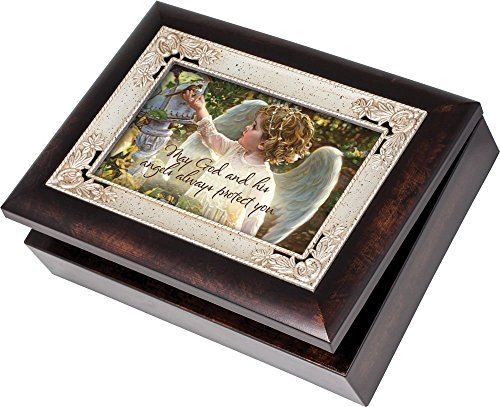 Cottage Garden Guardian Angel In The Garden Burlwood Inlay Italian Style Music Musical Jewelry Box Plays Amazing Grace