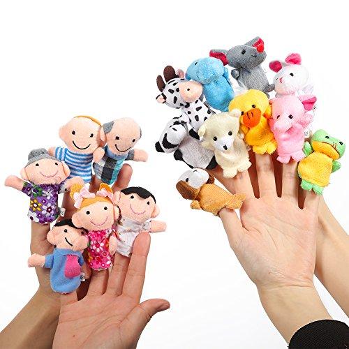 Twister.CK Fingerpuppen Set Story Time 16 Stück - 10 Tiere und 6 Personen Familienmitglieder Puppets Toys Cute Puppen für Kinder, Shows, Playtime, Schulen