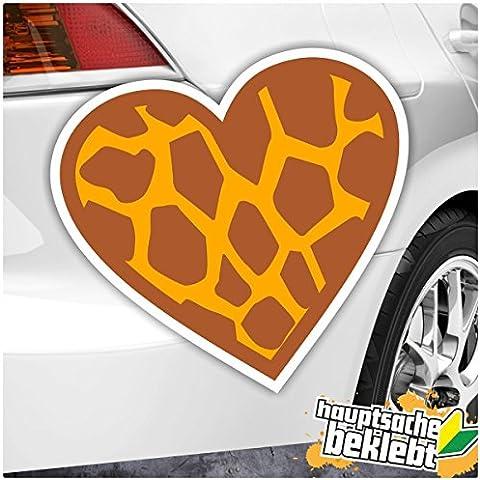 Corazón–Heart Love jirafa piel disponible en 4Tamaños Multicolor Pegatinas Auto Adhesivo