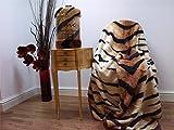 Soft Faux Fur Mink Bed Throw Blanket, Medium Double Size 150cm x 200cm, Tiger Animal Skin Print - Mountain Moose Co.
