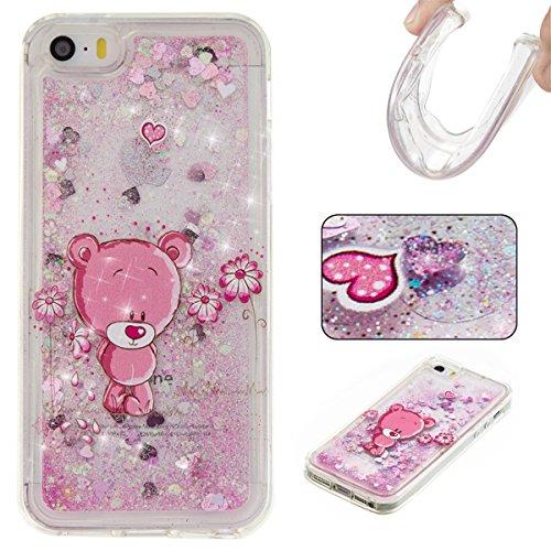 iPhone 5S Hülle, iPhone SE Hülle, Gift_Source [ Lila Bär ] Transparent Weiche Silikon Schutzhülle TPU Bumper Case Schutz Handy Hülle Case, Creative 3D strom flüssiger durchdrungen von glitzer und ster E1-Rosa Bär