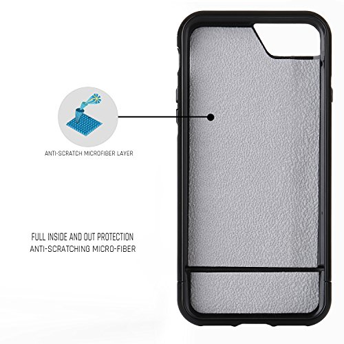iPhone 7 Case, SOUNDMAE Dual Layer Hybrid Microfiber & PC Anti-impact Shockproof Antiskid Splice Nice Touch Case Cover For iPhone 7 [Black] Jet Black