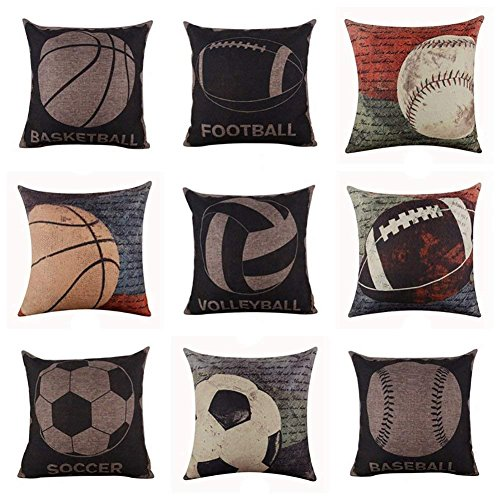 Everyday Soft Bedding Baseball Football Bedruckter Flachs Schlafzimmer Kissenbezug, Leinen, 8#, 45cm x 45cm(Approx.) -
