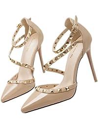 Xianshu Mujeres Zapatos de Tacón Alto Remache Bombas Huecas Dedo del Pie  Puntiagudo Hebilla Zapatos de 608d1300ca45