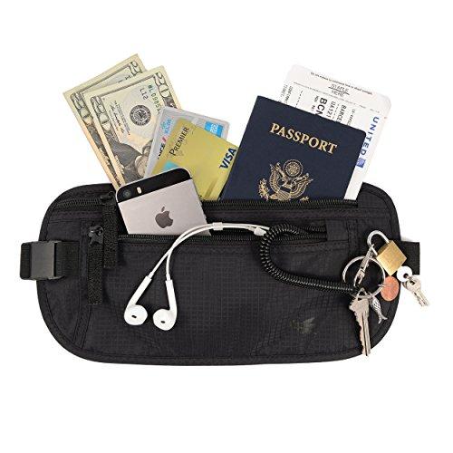 Cinturón de dinero slim de Nomalite | Riñonera de viaje para hombre y mujer con 3 bolsillo robustas. Money belt oculta bajo la ropa, con bloqueo RFID. Ideal para viaje, correr / running o senderismo.