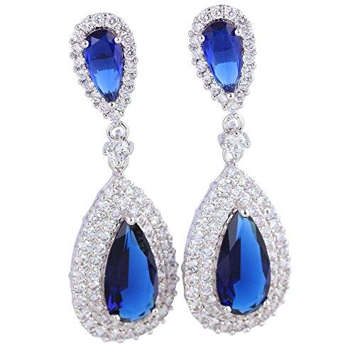 Orecchini pendenti Argento Royal Blu Zaffiro topazio bianco orecchini da donna Fashion Jewelry E391