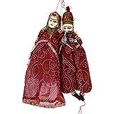 The Digital Store Art & Crafts Decorative Wooden Cloth Rajasthani Handmade Puppet,Katputli Pair Set Puppet Kathputli Decorative Showpiece Gift (21 Cm X 12 Cm X 16 Cm, Pack Of 2)
