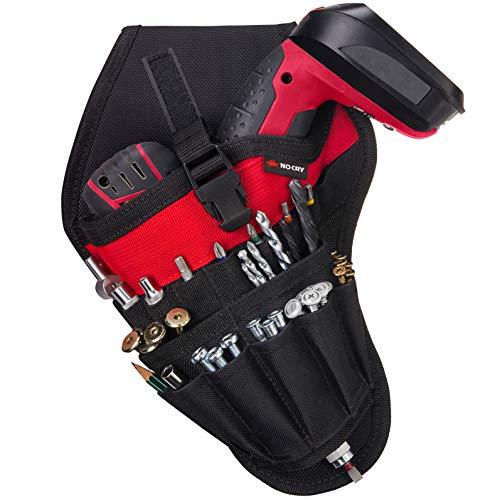 NoCry Werkzeughalter für Linkshänder | Akkuschrauber Werkzeuggürtel mit 17 Zubehör-Taschen und Schlaufen für Werkzeuge und Bits | Schneller Zugriff | Gürtel-Befestigung -