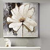 TTKX@ Moderne Wohnkultur Wandkunst Leinwand Bild Handgemalte Acryl Blume Bilder Handgemachte Abstrakte Weiße Blume Ölgemälde Messer, 70X70 cm