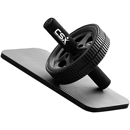 CSX Bauchroller, Rad mit extra dicker Knieauflagematte und Komfort-Schaumgriffen, Schwarz - Dual, Doppel-Pro-Bauchübungsrad - Phantastischer Fitnessworkout für die Bauchmuskeln