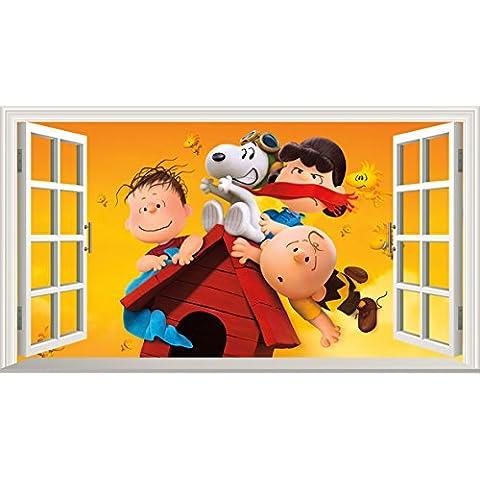Peanuts Movie Charlie Brown e Snoopy V003Magic finestra adesivo da parete adesivo da parete poster art, 1000mm larghezza x 600mm profonda (grande)