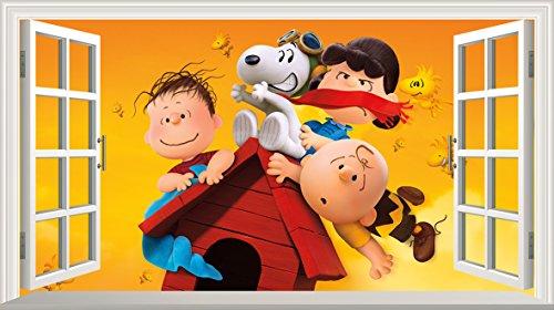 Peanuts Film Charlie Brown und Snoopy V003selbstklebend Magic Wandtattoo Fenster Poster Wall Art Größe 1000mm breit x 600mm tief (groß)