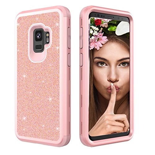 Coque Samsung Galaxy S9 Plus,Aearl Samsung Galaxy S9 Plus Coque Luxe Shiny Brillante Glitter Double 3 In 1 Hybrid Hard PC Arrière Shell +Doux Silicone Bumper Full-Body 360 Coverage Antichoc Protection Housse pour Samsung Galaxy S9 Plus-Rose Or