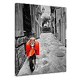 Kunstdruck - Retro Roller - Bild auf Leinwand 60 x 80 cm - Leinwandbilder - Bilder als Leinwanddruck - Motorisiert - schwarz weiß - roter Motorroller